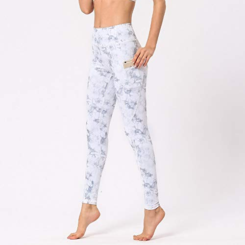 Nuevos Pantalones de Yoga con Estampado de Flores para Mujeres Bolsillos de Tiras de Cintura Alta Polainas Deportivas Pantalones de Fitness para Mujeres