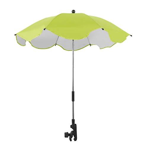 TIREOW Verstellbarer Regenschirm, Abnehmbarer Schnellverschluss, Verstellbarer 8 Knochen Regenschirmhalter Und Regenschirm Für Kinderwagen, Roller, Gehhilfen Und Rollstühle (Grün)