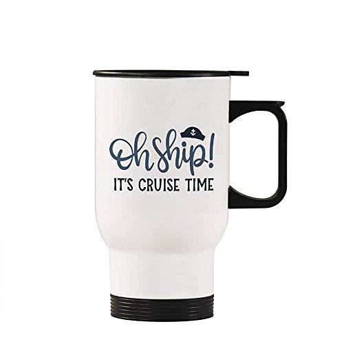 Little Yi Oh Schiff Seine Kreuzfahrt Zeitreisebecher Isolierte Becher Kaffeetasse Neuheit Becher Tasse Geschenke Idee, Weiß