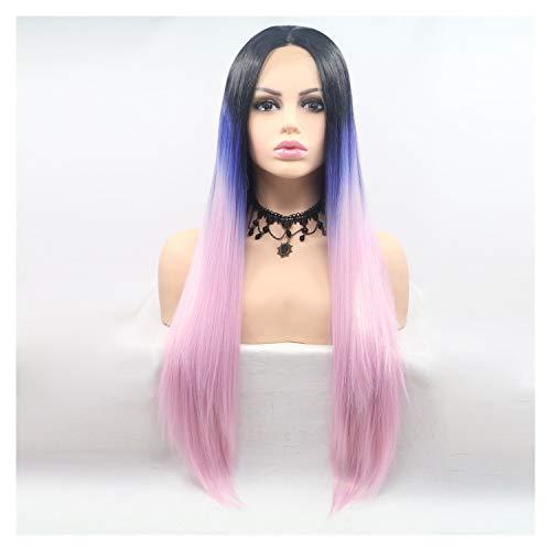 Mooi For Lace Chemical Fiber Pruik Lady Rollenspel gradiënt en Straight Pruiken (Color : Pink)