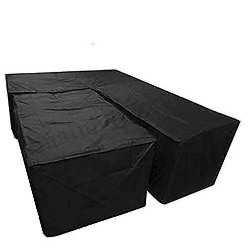 EDENCOMER Waterproof L Shape Dust Cover And Rectangular Cover Garden Furniture Covers Heavy Duty Windproof Anti-UV Cube Corner Furniture Sofa Rattan Cover for Outdoor Patio Table And Chairs 2Pcs/Set