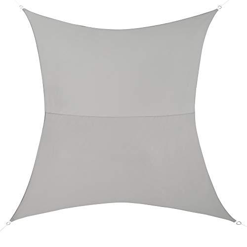 [en.casa] Voile d'Ombrage Toile d'Ombrage Toile de Protection Polyester Polyuréthane Quadrilatéral Gris Clair 3x5 m