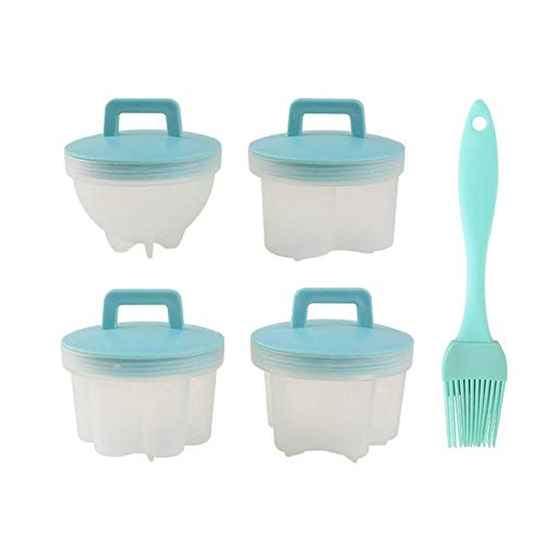 4Pcs Egg Poacher Cups for Perfect Poached Eggs,for Egg Poacher Pan, Silicone Eggs Poacher Cookware Kitchen Supplies (Green)