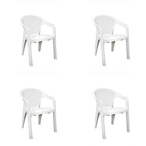 ITALICA 5202 Oxy Series Chairs - Modern Stackable Plastic Armchairs (Matte Finish, White, Set of 4)