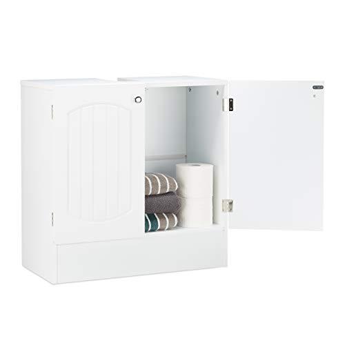Relaxdays Waschbeckenunterschrank Holz, Badezimmerschrank mit Lamellen Design, Bad, HxBxT: 60 x 60 x 30,5 cm, weiß