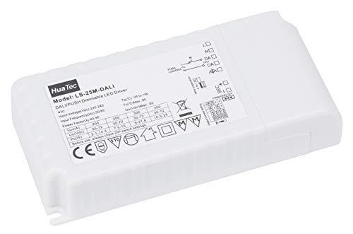 HuaTec LED Trafo 25W Dimmbar DALI Push Taster (Pri) Ausgang 200mA - 350mA Flickerfree LED Netzteil Treiber Driver Transformator