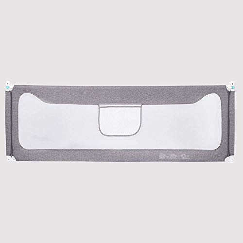 Lsmaa faltbarer Zug Bett für Kinder Kleinkinder Sicherheit Zaun Bett für Babys und Kinder, verstellbar, für Kleinkinder, Kinder, Schlafschutz, Grau, 1,5 m 1.2 M Grau