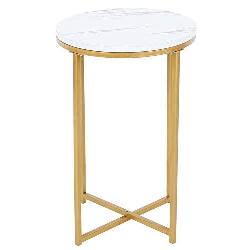 Lucaic Mesa- Mesa, estilo nórdico moderno redondo lateral mesa de té para dormitorio sala de estar con patrón de mármol