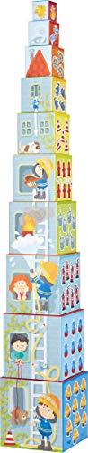 HABA 304238 - Stapelwürfel Feuerwehr, Turm zum Stapeln aus 10 Würfeln, Bausteine aus Pappe mit bunten Feuerwehr-Motiven, Babyspielzeug ab 12 Monaten