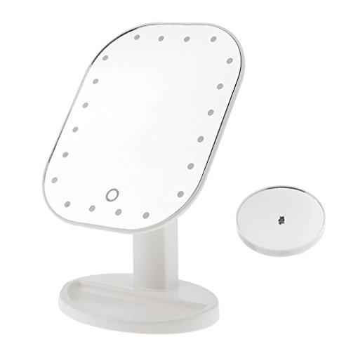 Sharplace Miroir de Maquillage sur Pied Tactile à Lampe LED + Miroir Grossissant de 10x Potable et Rotatif pour Maquillage/Démaquillage - Blanc