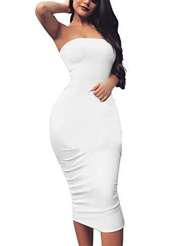 BORIFLORS Women's Basic Sleeveless Tube Top Sexy Strapless Bodycon Midi Club Dress,Medium,White