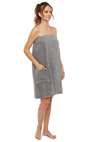 Arus Women's GOTS Certified Organic 100% Turkish Terry Cotton Adjustable Closure Bath Wrap Large Gray