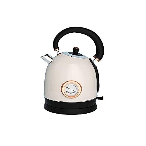 CJSWT Hervidor de Agua eléctrico de 1.8L, hervidor de Agua Caliente y Calentador de té con Mango Curvo, línea de Nivel de Agua Visible, Apagado automático y protección para hervir y secar