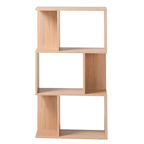 3-Tier Wood Bookshelf S Shape Storage Display Estantería Estantería Estantería Blanca Unidad Divider Estante Estante CD DVD