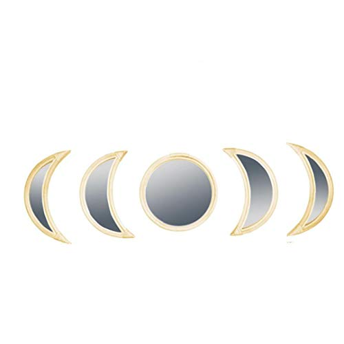 Marco Fase de la Luna del Espejo Decorativo Espejo Rota de Madera Tejida Mano de acrílico Espejo Colgante para Sala de Estar 5PCS