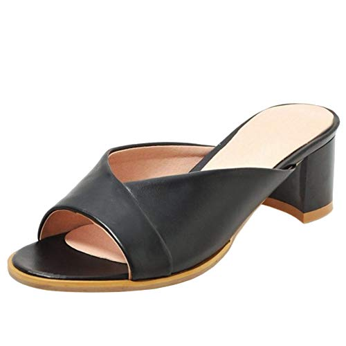 Lydee Damen Mode Sommer Shoes Mitte Absatz Mules Sandalen Peep Toe Slip On Slides Shoes Black Gr 38