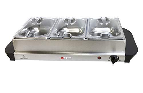 Warmhalteplatte, Büffet-Servierplatte mit 3 x 1,25L Wärmeschalen mit transparentem Deckel, Warmhalteplatte, Temperaturregler, Betriebsanzeige, Cool-Touch-Griffe, rutschfest, 200 W