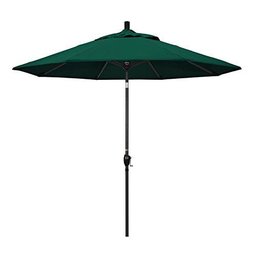 California Umbrella GSPT908302-5446 9' Round Aluminum Market, Crank Lift, Push Button Tilt, Black Pole, Sunbrella Forest Green Patio Umbrella, 9-Feet