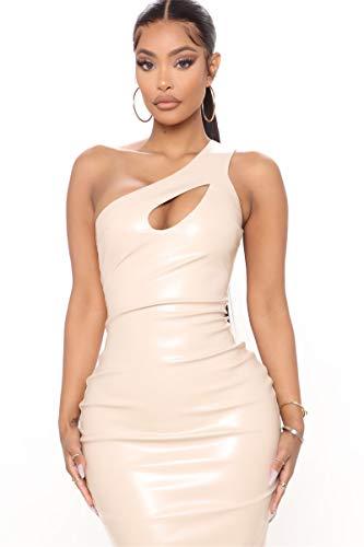 Casual Femenino Basic Shoulder Bodycon, Midi Midi Club Vestido, Moda Sexy PU Cuero Falda,Beige,XXL