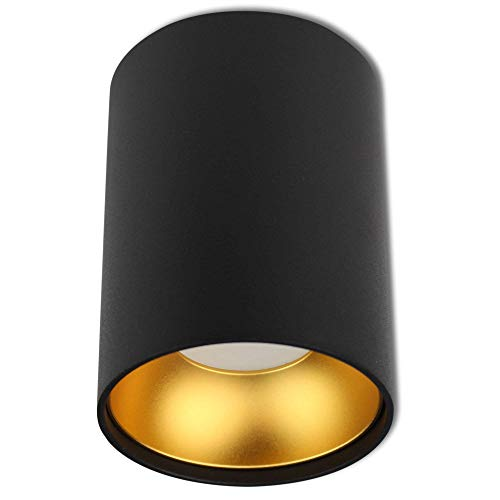 LED Aufbauleuchte rund Schwarz-gold 5 Watt warmweiß GU10 230V – 110x85mm Aufbaustrahler aus Aluminium – Einbaustrahler Deckenlampe Loft Einbauleuchte Einbau-Spot Decken-Strahler