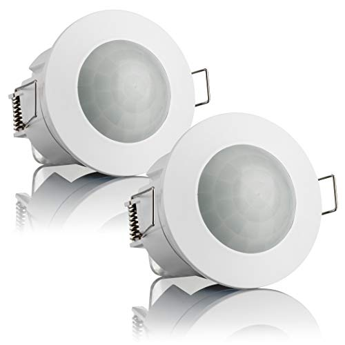 SEBSON 2X Detector de Movimiento Empotrable, Interior, Montaje en Techo, programable, Sensor de Infrarrojos, Alcance 6m / 360°, LED Adecuado