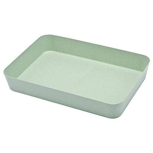 Bandeja de almacenamiento Caja Home Divider sy Clean Trigo Fibra Portátil Cubiertos Degradables Oficina Cocina Organizador Cajón Cosméticos (Verde)