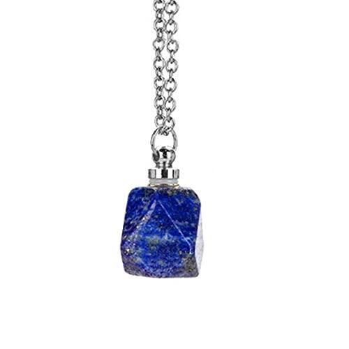 Botellas de Perfume de Cristal de Cuarzo Natural Collar con Colgante de Botella de Aceite Esencial (Azul)