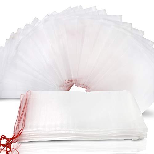 "YGDZ Fruit Netting Bags, 25pcs 12""x8"" Fruit Protect Bags Garden Drawstring Nylon Mesh Barrier Bag Reusable Plant Fruit Flower Protection Bag"