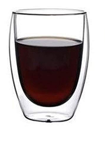 Amao Double Wall Insulated Borosilicate Glass Mugs Modern Espresso Cups, 12-Ounce, Set of 2 (15oz)