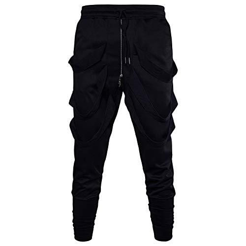 Pantalones Harem de Color sólido para Hombre, Moda, Personalidad, Tendencia, Cremallera cónica, decoración, Pantalones básicos Informales para Fitness XL