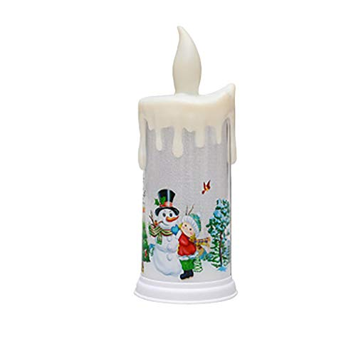 Snowman Santa Flameless Candles, Flickering LED Fake Candles, 22.5x9cm Electric Candles (A)
