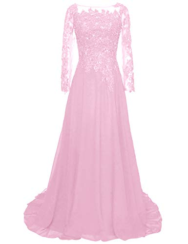 Mother of The Bride Dress Lace Mother Dresses Evening Formal Gowns Pink 4 (Apparel)