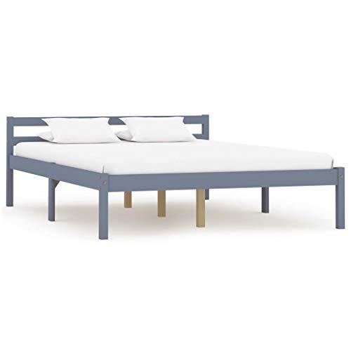 vidaXL Massief Grenenhouten Bedframe Grijs 140x200 cm Bed Frame Ledikant Bedje