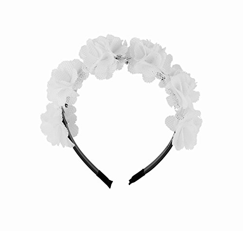 Be Unique Bowtique, Girls headband with teeth White Burlap Flower for Party