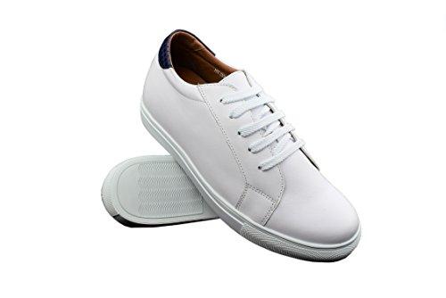 ZERIMAR Zapatos Deportivos con Alzas Interiores para Hombres Aumento 6 cm | Zapatos de Hombre con Alzas Que Aumentan Su Altura | Zapatos Hombre | Color Blanco-Tan Talla 44