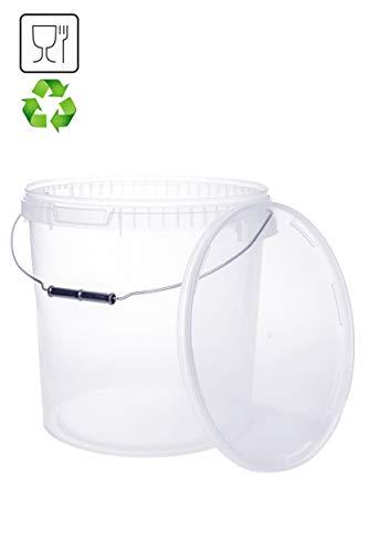 Eimer mit Deckel 20L Transparent Kunststoffeimer Deckel Henkel Lebensmittelecht Hochwertiger (1x 20 Liter)