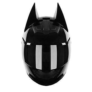 DJCALA Cat Ear Knight Helmet Full Face Motorcycle Helmets Personality Cool Cat Ears Electric Scooter Helmet Full Face Summer Men and Women Racing Couple Motorcycle Helmet DOT Certified