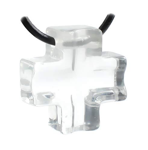 budawi® - Bergkristall Anhänger Kreuz Kettenanhänger mit Lederband, Kreuzanhänger