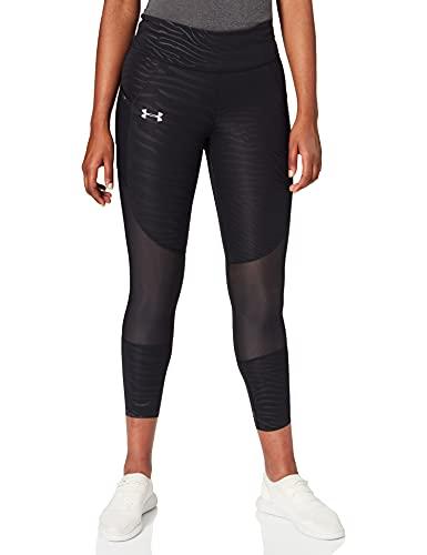Under Armour UA Speedpocket Printed Run Crop Pantalones para Deporte, Mujer, Negro (Black/Black/Reflective 005), S