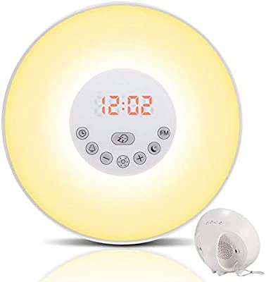 Nature Sounds and Touch Control Function 9 Colors ZXVSDRH Alarm Clock Wake Up Light-Sunrise//Sunset Simulation Table Bedside Lamp Eyes Protection with FM Radio