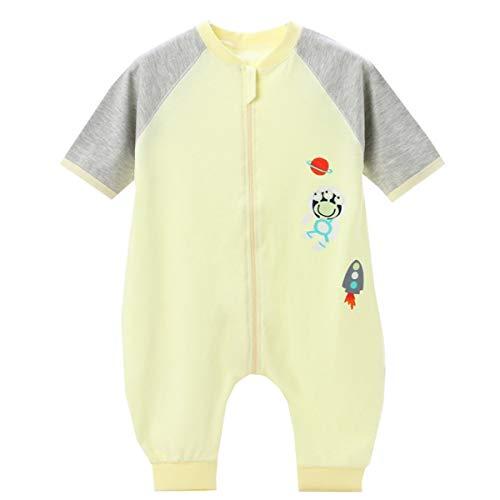 Emmala Baby Summer slaapzak pyjama casual chic korte mouwen baby girl boy slaapzak pyjama voor kleine kinderen met blauwe voeten, 100 lichaamslengte 90 100 cm