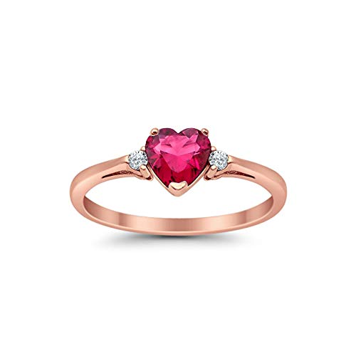 Blue Apple Co. 925 Sterling Silver Promise Ring Heart Shaped Simulated Ruby Rose Tone Rhodium PL Clear CZ Accent