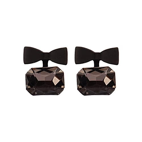 Pendientes De Cristal Lazo Negro Pendientes Femeninos Pendientes Pequeños Y Sencillos