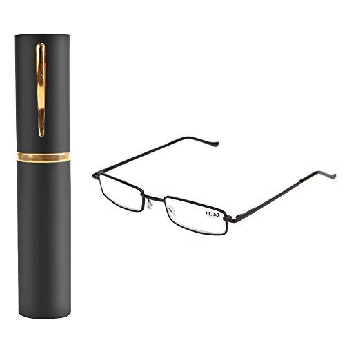 Kalttoy Lesebrille Damen Herren Federscharnier Metall Schmal Klein Mini Leicht Lesehilfe Sehhilfe Klare Arbeit Brillen Stärke mit Etui (Schwarz, 2,50)