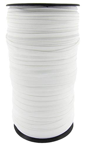 HELIDA Flat Elastic Strap Braided Breathable Sewing Band High Stretchy Ideal for Bralette Camisoles Masks Making (White, 1/8' × 200 Yards)