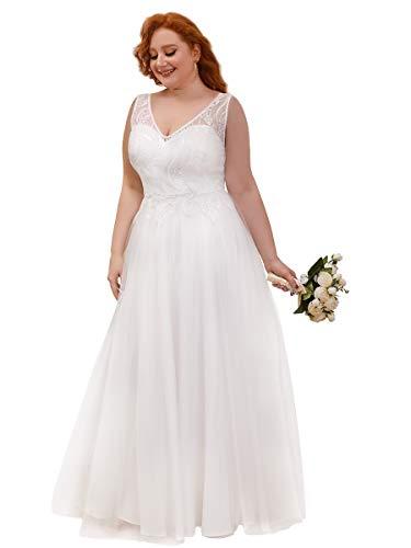 Ever-Pretty Vestido de Novia de Boda Talla Grande Mujer Largo A-línea Escote...