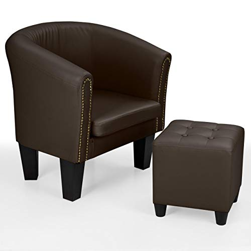 Homelux Chesterfield Sessel und Sitzhocker, aus Kunstleder und Holz, mit Zierknöpfen, Farbwahl,...