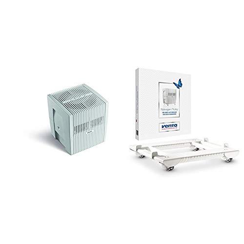Venta Luftwäscher Original LW25 Luftbefeuchtung und Luftreinigung (bis 10 µm Partikel) für Räume bis 40 qm, Weiß-Grau & Rollwagen, weiß