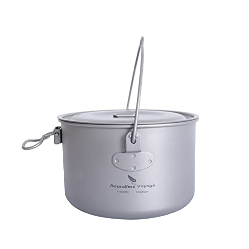 iBasingo 1300ml Outdoor Titanium Pot with Lid Folding Handle Camping Hiking Picnic Ultralight Bowl Tableware Only 166.5g Ti2043C