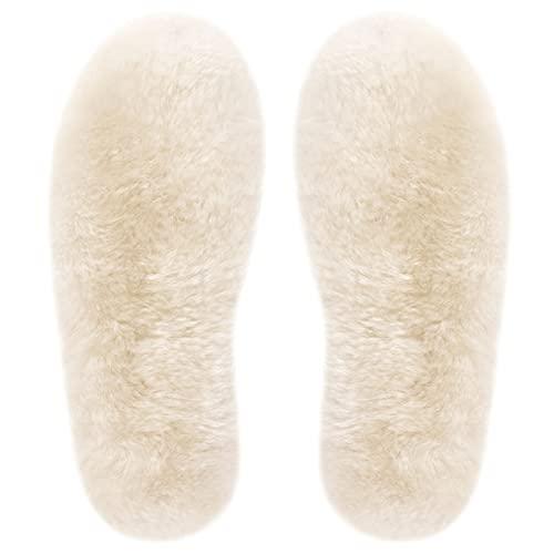 Einlegesohlen Winter für Damen und Herren, Super Dick Einlegesohlen Lammfell, Atmungsaktiv Weich 100% Schafwolle Einlegesohlen für Arbeitsschuhe Stiefel Gummischuhe Sportschuhe (40 EU 25.5cm)